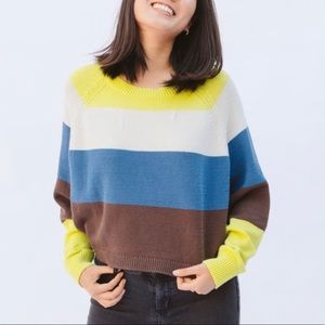 Current Air - color block crop sweater